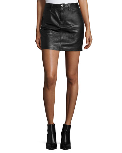 The Skinny Leather Mini Skirt, Black