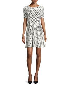 Short-Sleeve Geometric Jacquard Dress