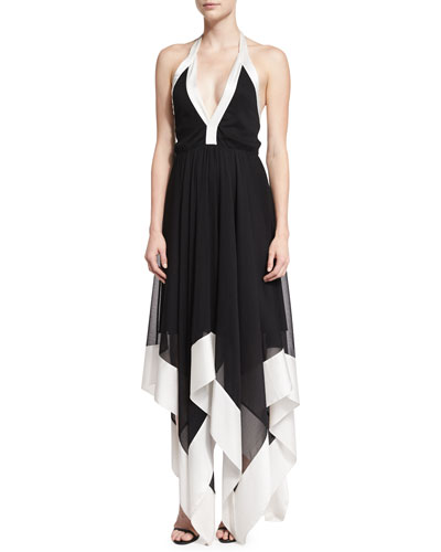 Ember Colorblock Chiffon Halter Dress, Black/White