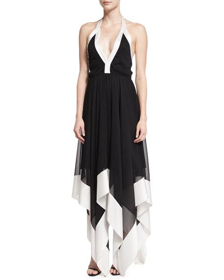 Ember Colorblock Chiffon Halter Dress, Black/White