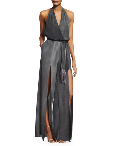 Silk Halter Jumpsuit w/ Fringe Belt, Charcoal