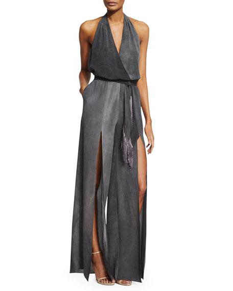 6b9ba33e35c Tamara Mellon Silk Halter Jumpsuit w/ Fringe Belt, Charcoal