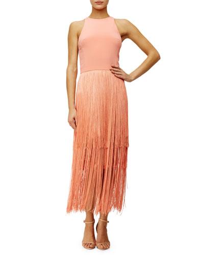 Sleeveless Fringe Column Dress, Sunset