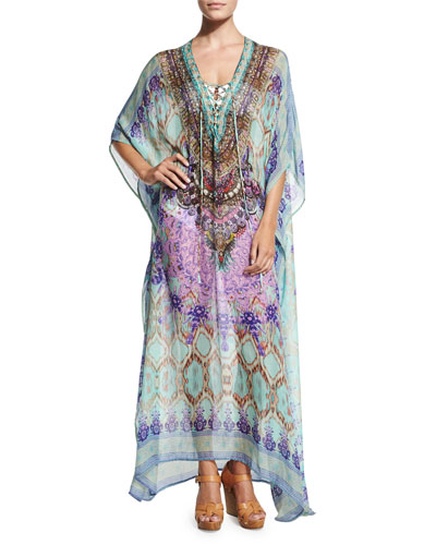 Printed Lace-Up Caftan Coverup