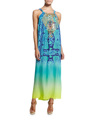 Beaded-Front Racerback Coverup Dress