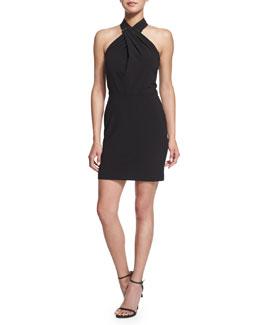 Crisscross Halter Stretch-Knit Dress