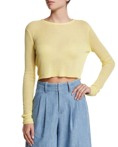 Eamon Sheer Cropped Sweater, Yellow