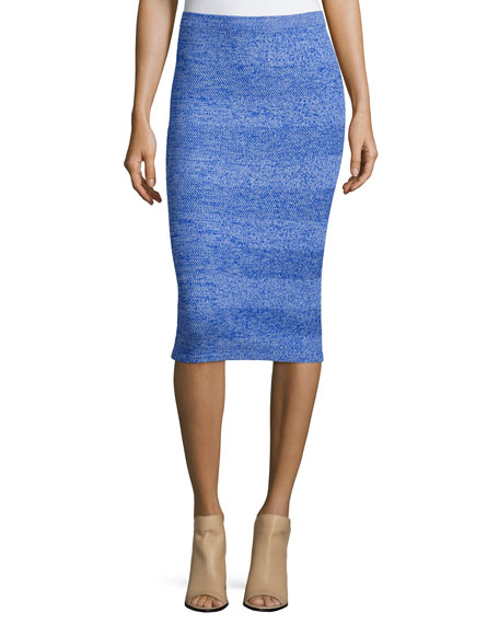 Morena Wool Herringbone Pencil Skirt, Blue