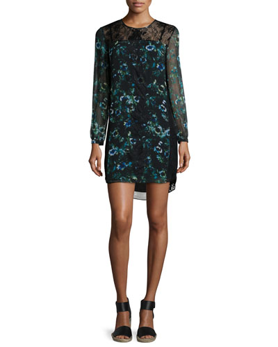 Long-Sleeve Floral Organza Shift Dress
