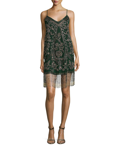 Bead Embroidered Rose Tank Dress