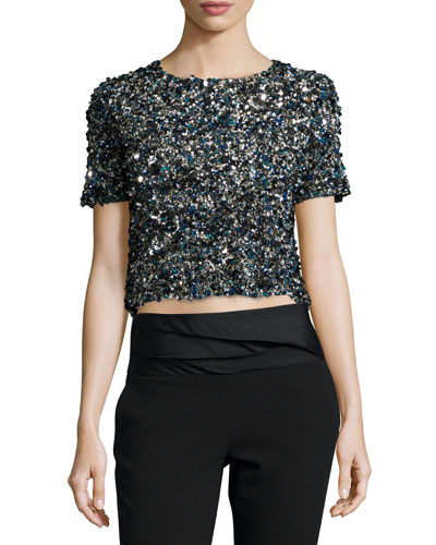 Mosaic Sequin-Embellished Crop Top