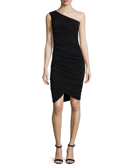 Deedee Ruched One-Shoulder Sheath Dress, Black