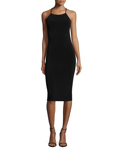 Esther Mesh-Inset Sheath Dress, Black