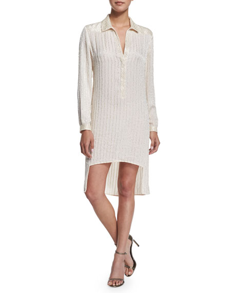 Long-Sleeve Metallic Pinstripe Shirtdress