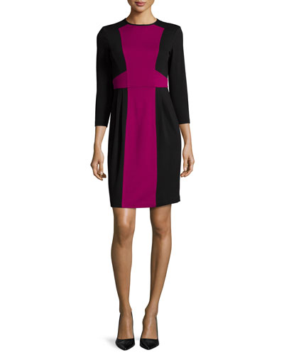 3/4-Sleeve Colorblock Sheath Dress