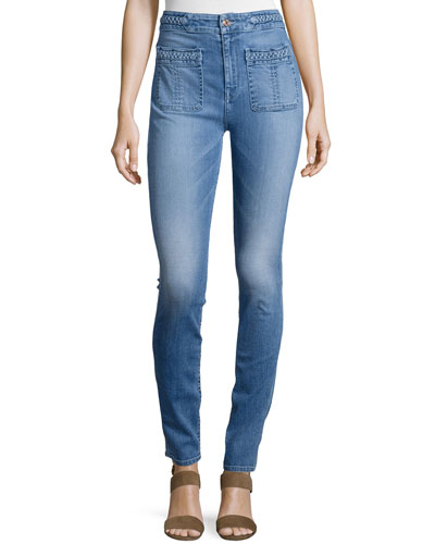 Braid-Trim Skinny Jeans, Light Blue Hue