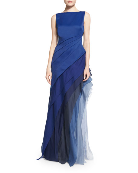 Sleeveless Ombre Tiered Gown