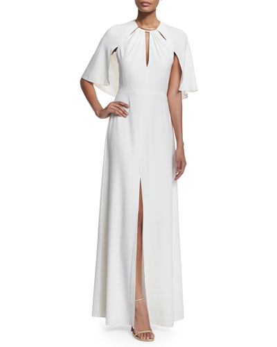 Slit-Front Gown with Cape