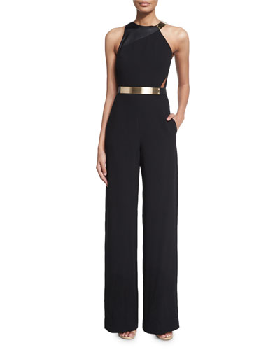Sleeveless Belted Wide-Leg Jumpsuit