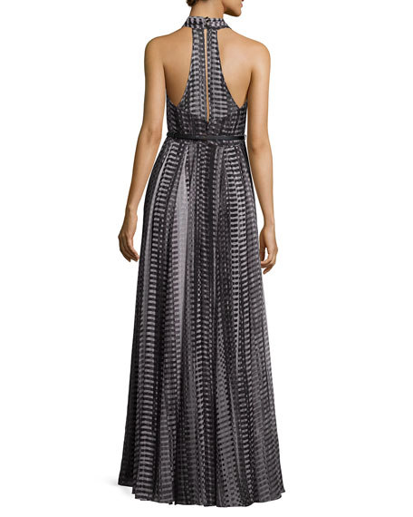 Crisscross Halter Printed Flowy Gown