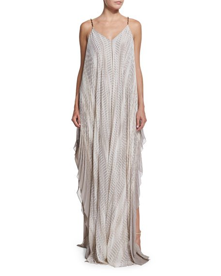 Sleeveless Printed Flowy Gown, Parchment