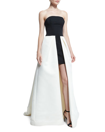 Strapless High-Low Ball Gown, Eggshell/Black