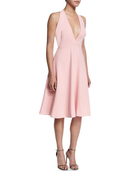 V-Neck Full-Skirt Halter Dress