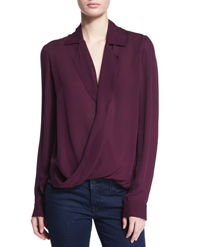 Rita Long-Sleeve Silk Blouse, Aubergine