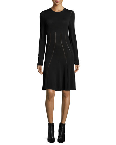 Ergonomic Flirty Long-Sleeve Dress, Black