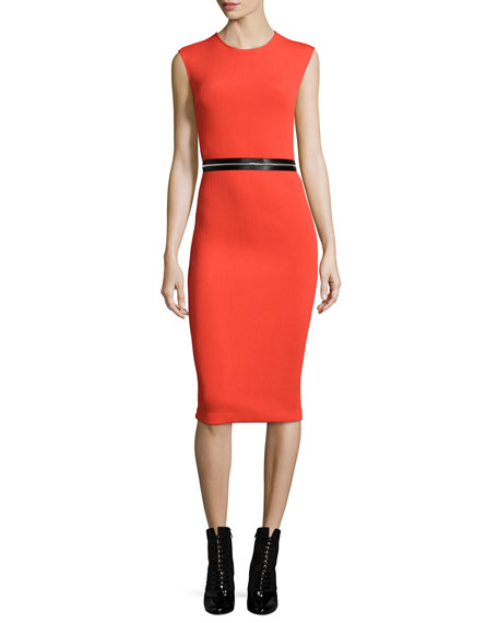 Zip-Trim Bodycon Sheath Dress, Red