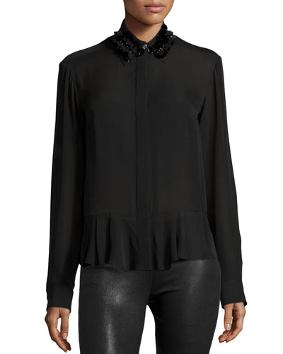 Silk Embroidered Peplum Shirt, Black