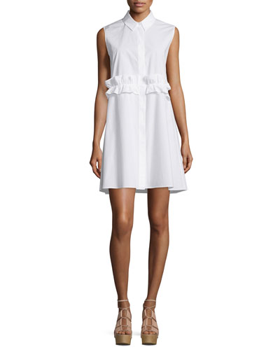 Sleeveless Cotton Ruffle-Trim Shirtdress, Optic White