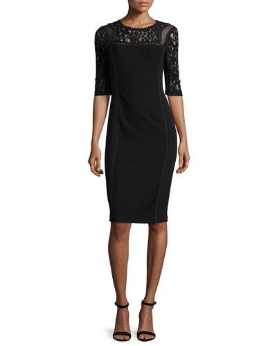 Short-Sleeve Mixed-Media Sheath Dress, Black