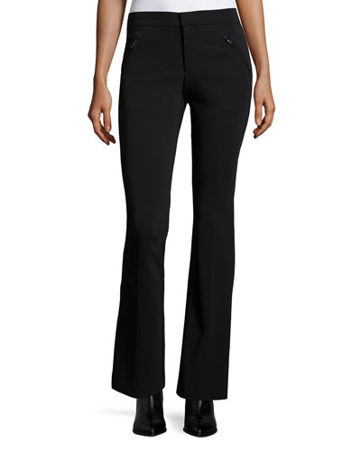 Techy Slim-Fit Boot-Cut Pants, Black