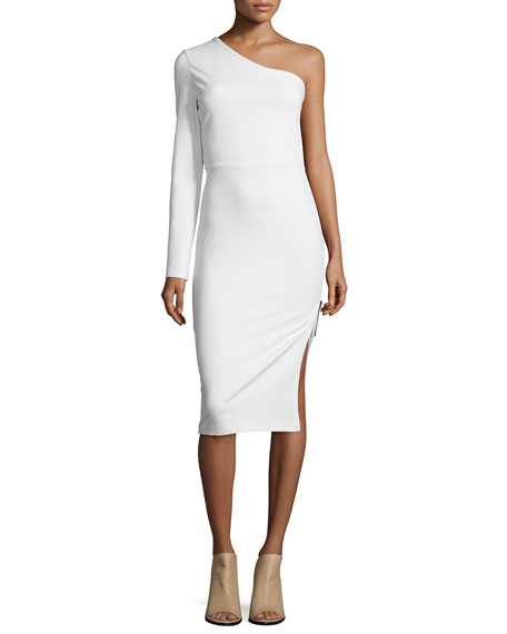 One-Sleeve Side Zip Ponte Dress, Ivory