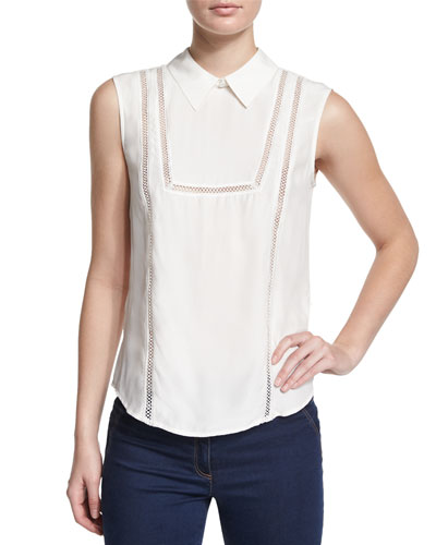 Sleeveless Collared Bib Blouse, Off White