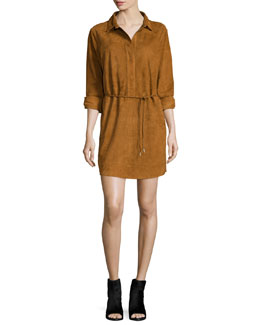 Leeds Suede Shirtdress, Brown