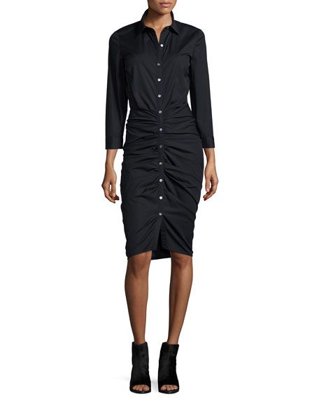 Ruched Button-Front Shirtdress, Black