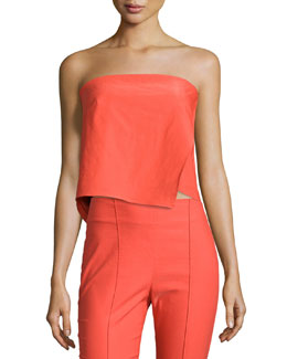 Strapless Asymmetric Layered Top, Bright Red