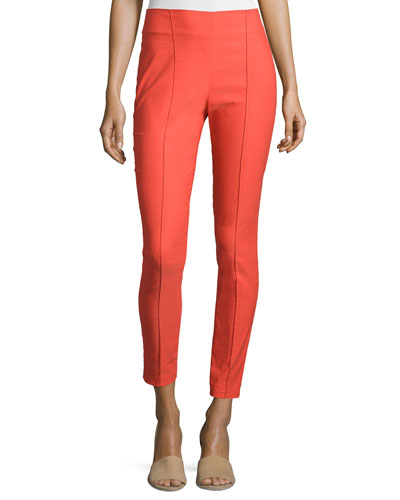 High-Waist Seamed Trousers, Bright Red
