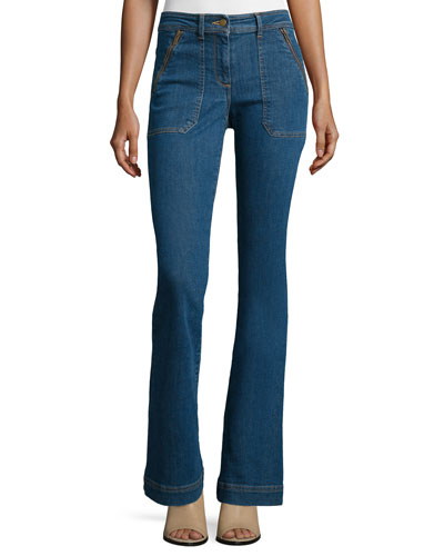 Patch-Pocket Denim Skinny-Flare Jeans, '70s Wash