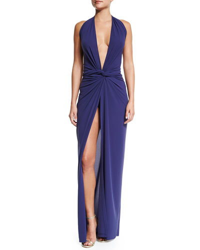 Twist-Front Plunge Wrap Dress, Midnight