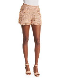 Metallic Crochet Shorts W/Fringe Trim