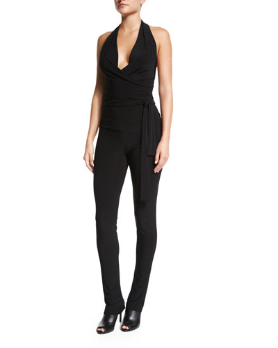 Halter-Neck Wrap Jumpsuit, Black