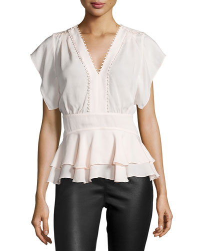 Ruffle-Trim V-Neck Top, Movida