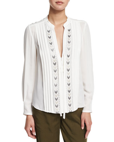 Long-Sleeve Pleated Chevron-Embroidered Silk Top, Snow