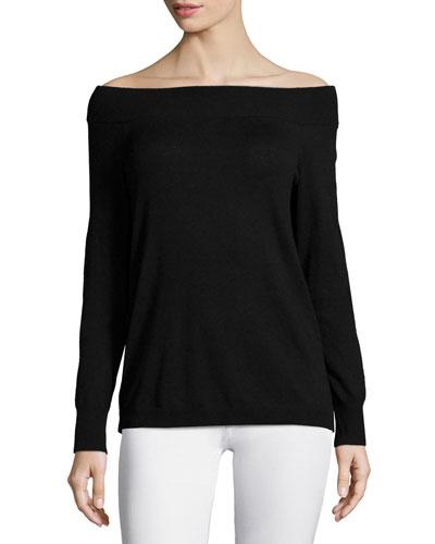Long-Sleeve Off-the-Shoulder Top, Black