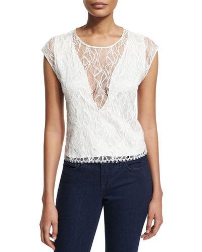 Mila Leavers Lace Top, Ivory