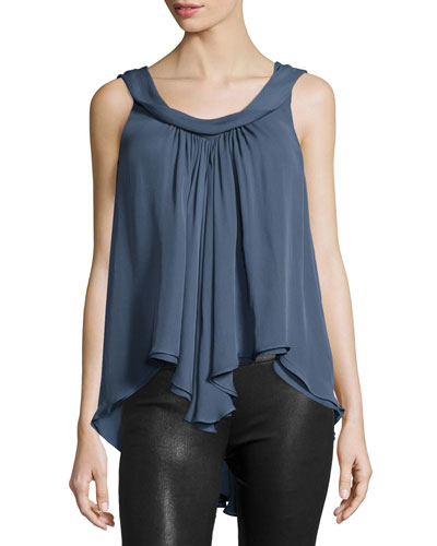 Christy Sleeveless Layered Top, Blue Slate