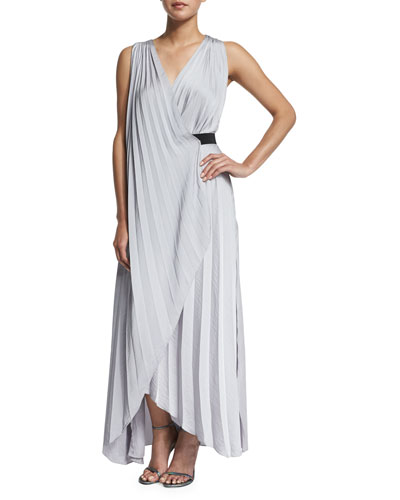Helene Sleeveless Pleated Maxi Dress, Silver Violet